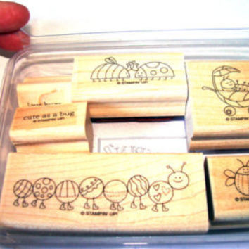 Love Bug Retired Stampin Up 6 Piece Set NEver Used Caterpillar Bee Ladybug Butterfly Cute