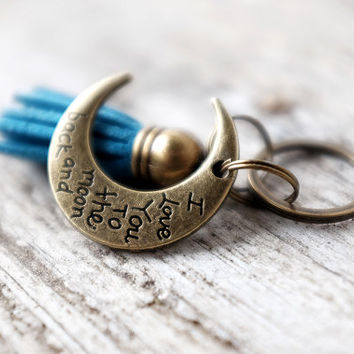 Tassel Keychain - I Love You To The Moon And Back - Blue Faux Suede Leather with Brass Cap and Brass Split Ring - Mini Keychain and Charm