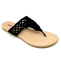 Women's Black Crochet Flip Flop
