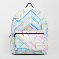 MINIMALIST GEOMETRIC PASTEL BRIGHT SHAPES PATTERN GRAPHIC DESIGN Backpacks by AEJ Design