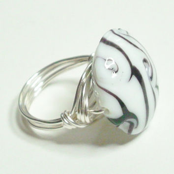 Black White Lampwork Silver Wire Wrapped Ring