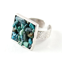 Sterling silver turquoise ring gemstone jewelry