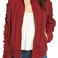Treasure & Bond | Ruffle Sleeve Bomber Jacket | Nordstrom Rack