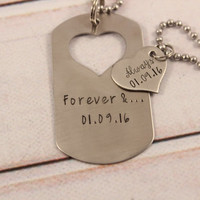 Forever and always dog tag with heart cut out & Heart set - available as keychain, bracelet or necklace set (or mix thereof)