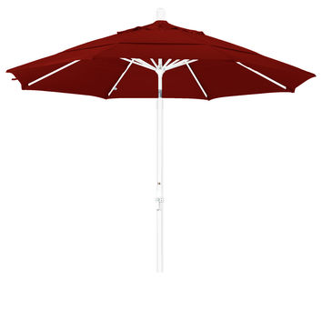 11 Foot Sunbrella Fabric Aluminum Crank Lift Collar Tilt Patio Umbrella with White Pole, 20 Colors