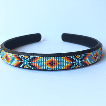 Headband - Navajo-Beaded - Light Turquoise Blue - Native American