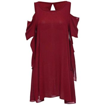 Sexy Round Collar 3/4 Sleeve Cut Out Loose-Fitting Solid Color Mini Dress for Ladies