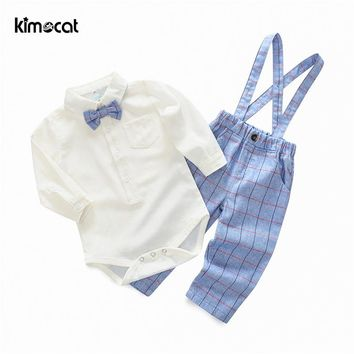 Kimocat NewBorn Baby Boy Clothes 2pcs Solid Rompers+Plaid Overalls British Gentleman Bow Tie Baby CostumeBoys Clothing Set