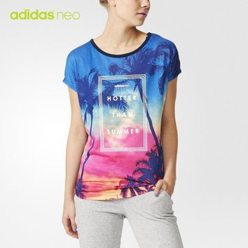 """Adidas Neo"" Women Casual Gradient Color Coconut Trees Print Short Sleeve T-shirt Tops"