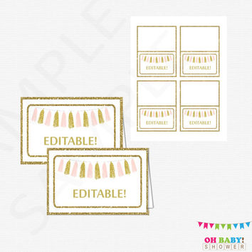 Editable Place Cards Baby Shower Food Labels Editable Tent Cards PDF Pink and Gold Baby Shower Decor Table Decorations Download TASPG