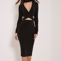 V-Neck Long Sleeve Bandage Halter Sexy Slim Fit Package Hip Bodycon Dress