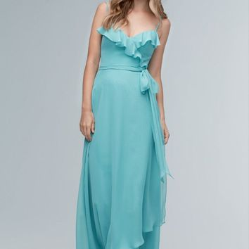discount Chiffon gown prom dress Ruffles along the sweetheart neckline crisscross into a tie at the waist