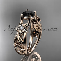 14kt rose gold diamond floral wedding ring, engagement ring with a Black Diamond center stone ADLR216