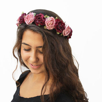 Valentines Day Soft Pink and Burgundy Rose Crown. Romantic, Vintage Inspired Rose Crown. Rose Headband, Pink and Red, Valentine Gift Idea