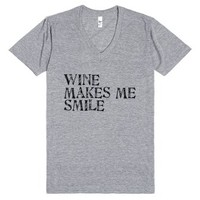 Wine Makes Me Smile Tee-Unisex Athletic Grey T-Shirt