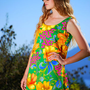 Hawaiian Babydoll Dress, Vintage 60s Mod Dress, Floral Hippie Dress, Boho Mini Summer Dress, Psychedelic GO GO Dress, 1960s Twiggy Dress
