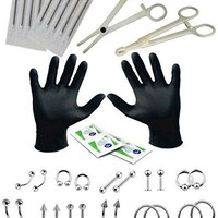 BodyJ4You 36PC Professional Piercing Kit Stainless Steel 14G 16G Belly Tongue Tragus Nipple Lip Nose