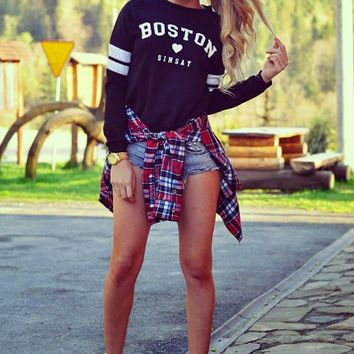 Black Letter Print Pullover Sweater