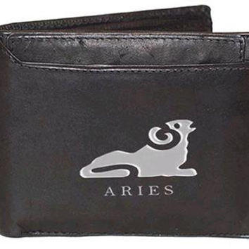 Men's Leather Wallet with Aries Zodiac Sign