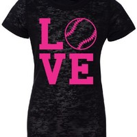LOVE Softball Burnout T-shirt S-XXL