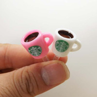 2 colors Cute Starbucks Coffee Cup Dust Plug 3.5mm Smart Phone Dust Stopper Earphone Cap Headphone Jack Charm for iPhone 4 4S 5 HTC Samsung