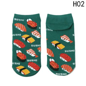 Women Cartoon Socks Creative Printing plutus Lucky Cat Fish Sushi Pattern Funny Socks Calcetines Japan Harajuku Cute Socks