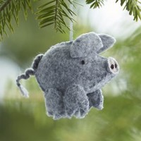 Felt Stitched Grey Pig Ornament