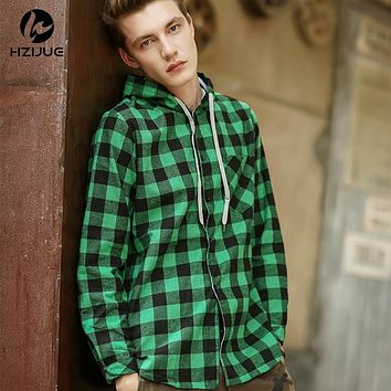 HZIJUE Fashion men Hoodies Cotton Autumn Winter Coat Long Sleeve Plaid cotton Hoodies Casual button hooded Sweatshirt red green