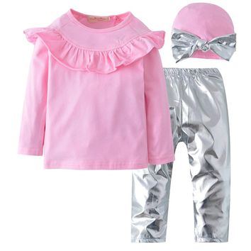 3pcs Kid Children Baby Girls Clothes Long Sleeve Ruffles Pink Top+Silver Leather Pants +Bow Hat Baby Girl Outfit Set Clothing