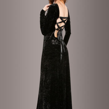 Morticia Black Velvet Laced Back Longsleeve Maxi Dress