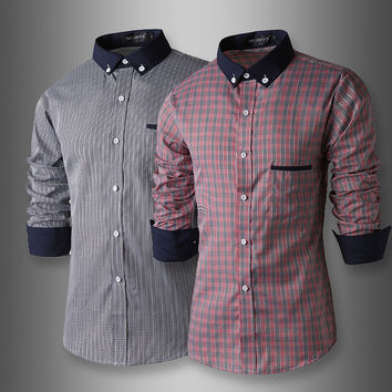 Plaid Men Classics Patchwork Casual Long Sleeve Shirt [6544489603]