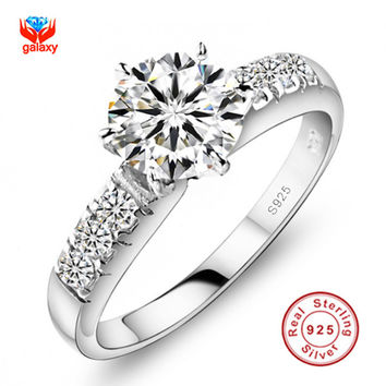 6 Have Silver Certificate!!! Real 100% 925 Sterling Silver Engagement Ring Set 1 Carat Simulated Diamond Wedding Rings For Women