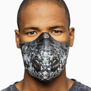 """Samir"" mask from the S/S2015 Marcelo Burlon County of Milan in black and white."
