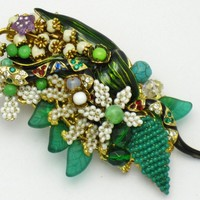 STANLEY HAGLER Snake Serpent Figural Brooch Pin Rhinestone, Seed Pearl, Art Glass, Russian Gilt