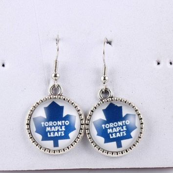 NHL Earrings Toronto Maple Leafs Colorado Avalanche Ice Hockey Charms 18mm Glass Cabochon Dangle Earrings for Women Dropshipping