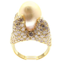 HENRY DUNAY Diamond South Sea Pearl Yellow Gold Ring