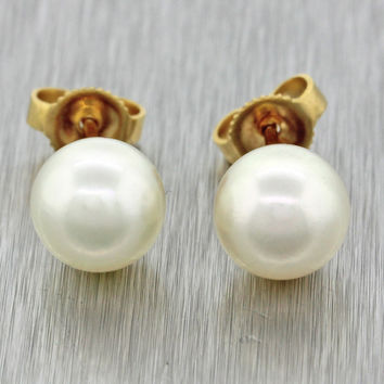 Mikimoto Designer 18k Solid Yellow Gold 7.5mm Pearl Stud Earrings
