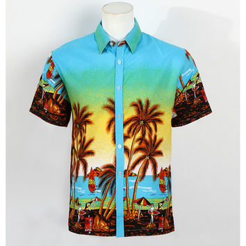 Hot LARGE SIZE Men Aloha Shirt Cruise Tropical Luau Beach Hawaiian Party Palm Sky blue  plus fat version