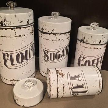 Vintage Kitchen Canisters 4 Piece Set Flour Sugar Coffee Tea Fixer Upper Decor Hgtv
