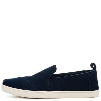 ONETOW Toms Women's Deconstructed Alpargata Navy Suede Flats