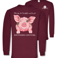 Southern Couture Humble & Kind Pig Long Sleeve T-Shirt