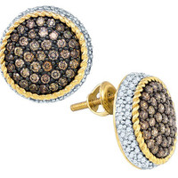 Cognac Diamond Fashion Earrings in 10k Gold 1.3 ctw