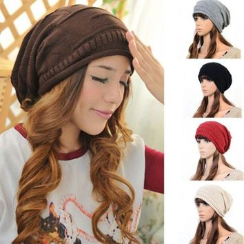 LMFUG3 1x Women Men Winter Warm Baggy Beanie Knit Crochet Ski Cap Oversized Slouch Hat = 1946184196