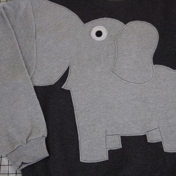 Fun Elephant Trunk sleeve sweatshirt Unisex Medium CHARCOAL