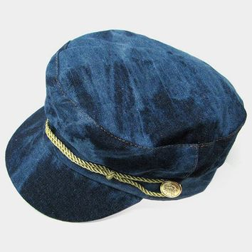 Navy Button Rope Accented Military Denim Cap