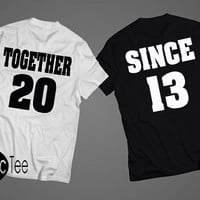 Together Since (the year) couple set tshirts, couple shirts, Couples tshirt set, couples shirt set, BLACK/WHITE tshirts