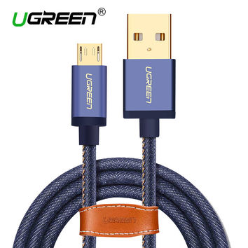 Ugreen Micro USB Cable 2M 1M Fast Charger & Data Cable Denim Braided Cable Mobile Phone USB Charger Cable For Samsung HTC Huawei