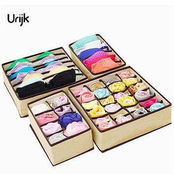 Urijk 4PCS Storage Boxes For Ties Socks Shorts Bra Underwear Divider Drawer Lidded Closet Organizer Ropa Interior Organizador