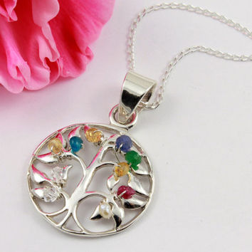 Tree of Life Necklace With Custom Birthstones and Crystals - Wire Wrapped Tree Pendant - Family Tree Necklace in Silver