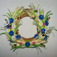 Quilling art Door wreath Home amulet Charm wreath Handmade wreath Flower wreath Front door wreaths Door decor Spring door wreath